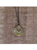 OraTen Octagon Drop Brass Pendant - Grey Bead