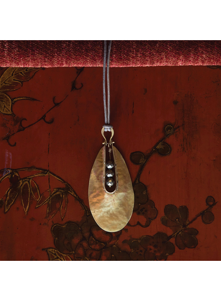 OraTen Tear Drop Brass Pendant - Pyrite