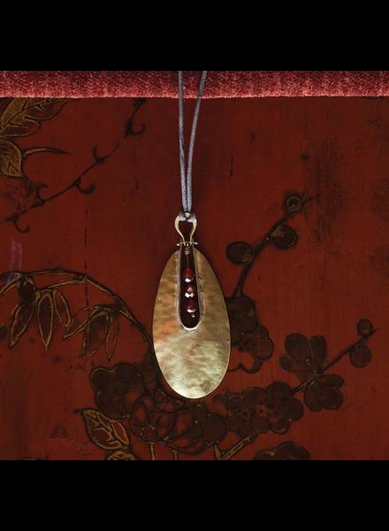 OraTen Tear Drop Brass Pendant - Carnelian