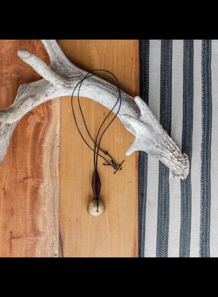 OraTen Hilo Brass Bicone and Wood Trapezoid Pendant