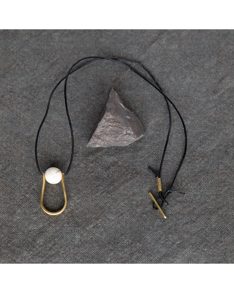 OraTen Circ Brass Necklace, Drop - Antler