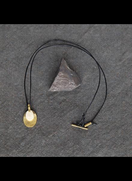 OraTen Circ Brass Necklace, Oval - Antler
