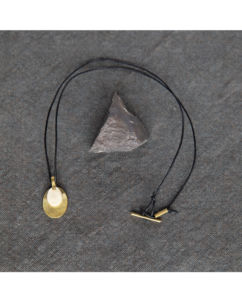 OraTen Circ Brass Necklace, Oval - Antler