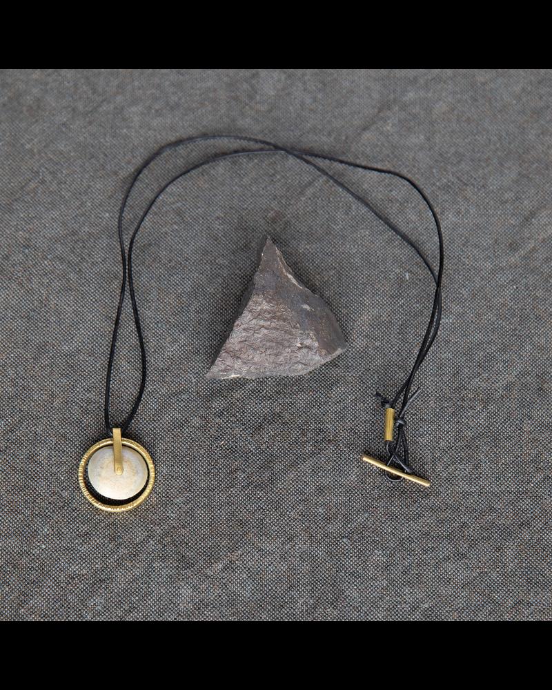 OraTen Circ Brass Necklace, Disk - Antler