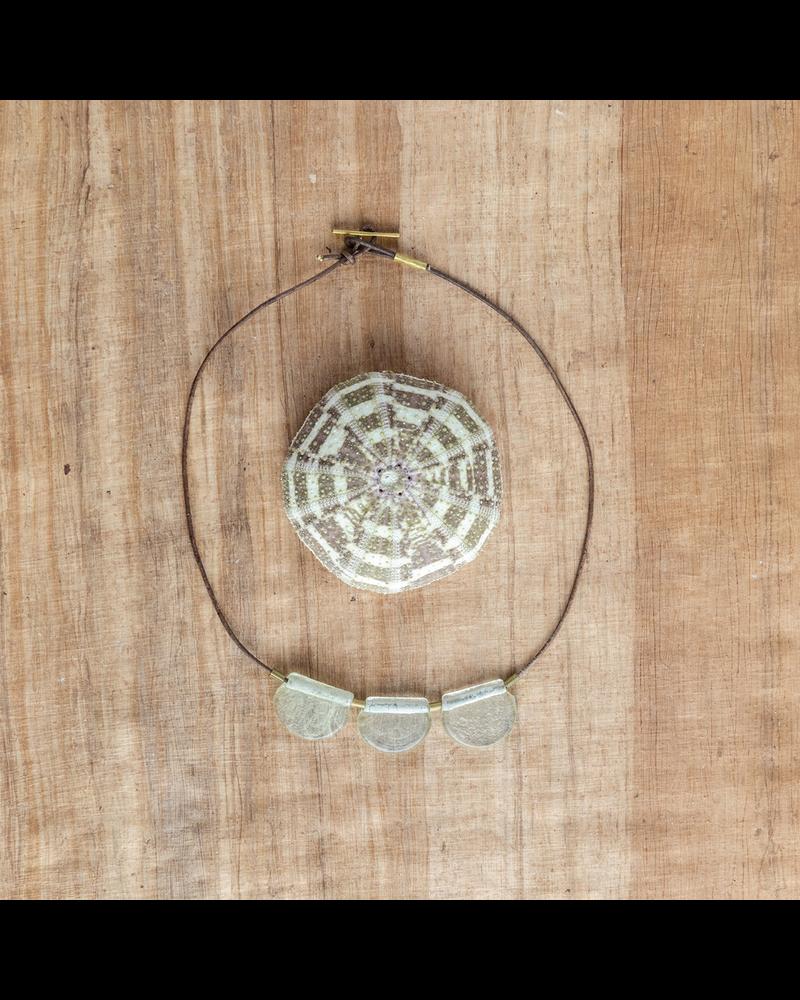 OraTen Playa Brass Necklace, Glass Drop