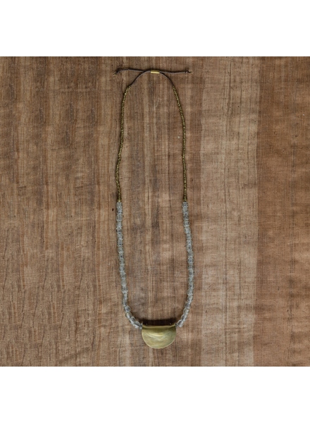 OraTen Earthen Glass Brass Necklace - Earthen Glass