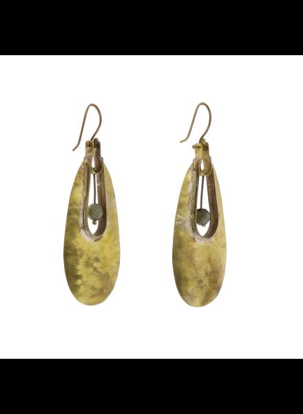 OraTen Tear Drop Brass Earrings - Labadorite