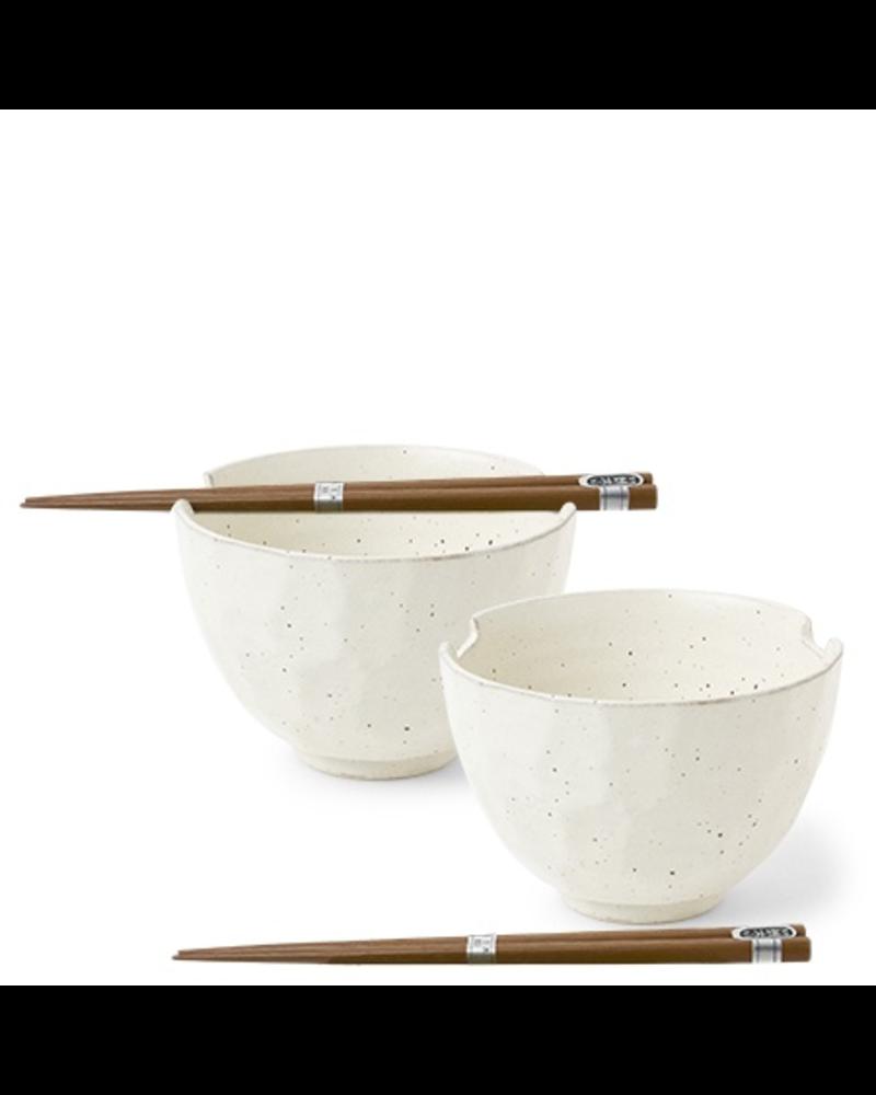Miya Company Boulder White Bowl w/Chopsticks