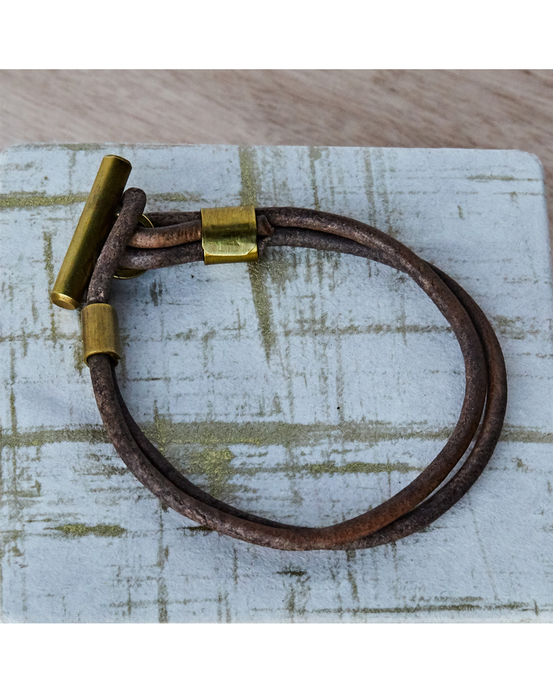 OraTen Dean Leather Toggle Bracelet - 8, Brass
