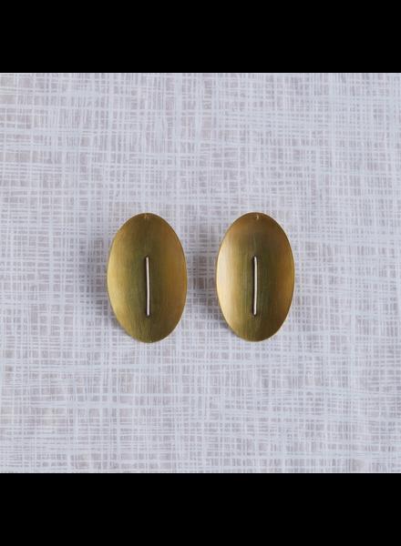 OraTen Ives Post Earring - Oval, Brass