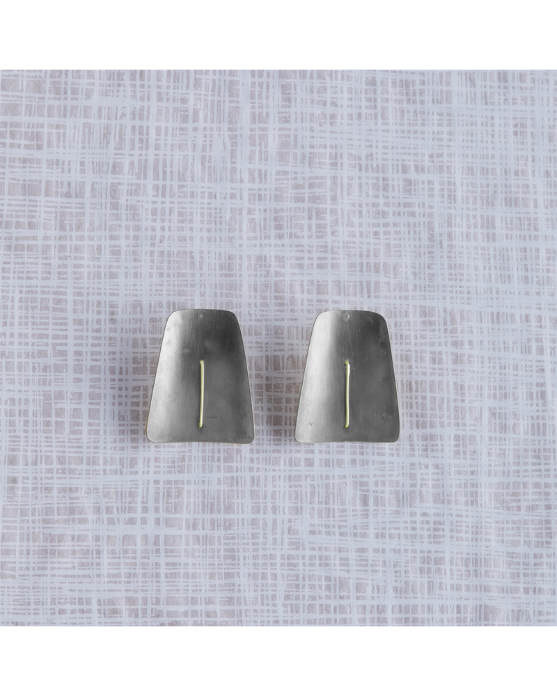 OraTen Ives Post Earring - Trapezoid, Silver