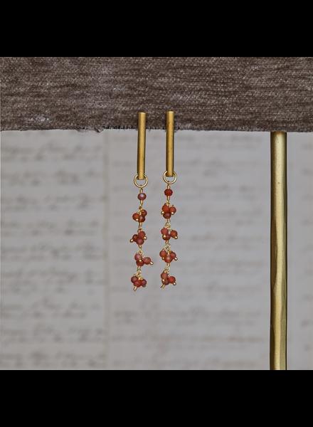 OraTen Vail Earring w/ Dangling Chain, Carnelian