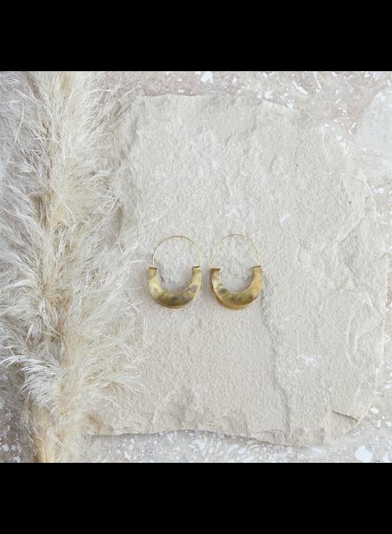 OraTen Yucca Earring - Crescent, Brass