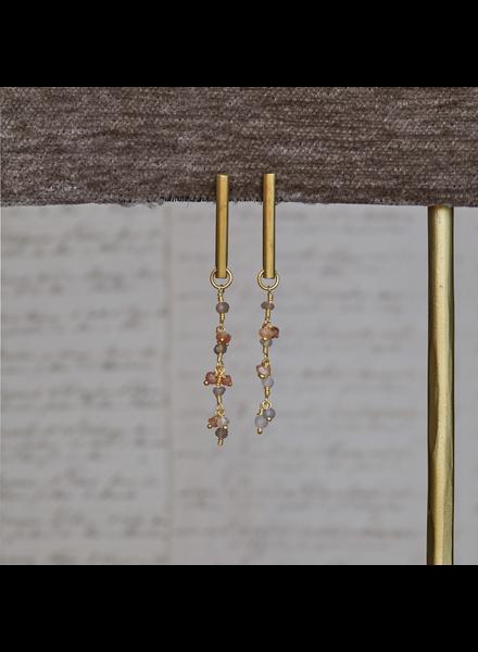 OraTen Vail Earring w/ Dangling Chain, Moonstone