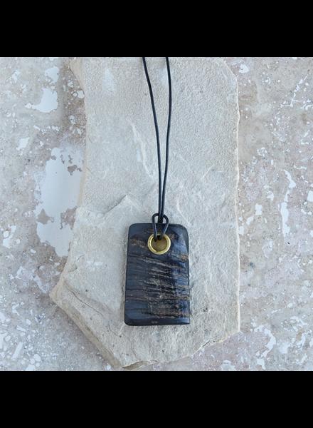 OraTen Tengara Horn Pendant with Eyelet, Rect - Lrg Black Horn, Brass