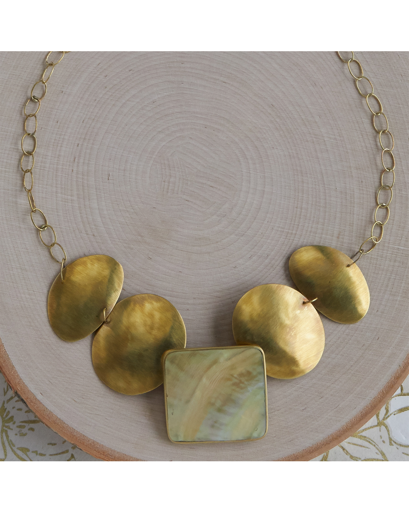 OraTen Taos Necklace - Square, Brass, Mother of Pearl - Light