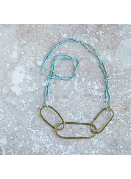 OraTen Copa Oval Necklace, Brass with Aqua Beads