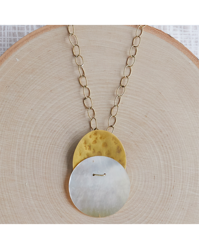 OraTen Cari Necklace, Brass, Mother of Pearl - Light