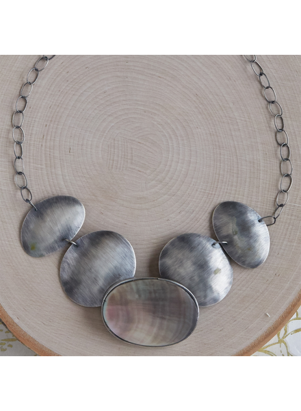 OraTen Taos Necklace - Oval, Silver Mother of Pearl - Dark