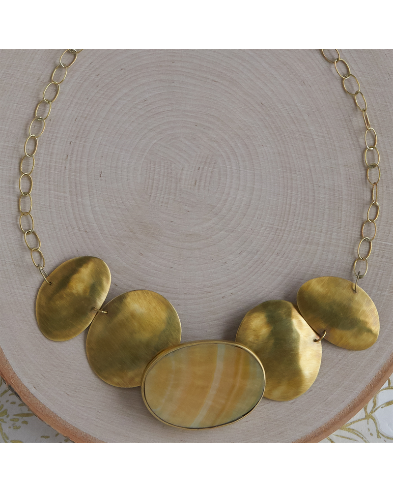 OraTen Taos Necklace - Oval, Brass, Mother of Pearl - Light