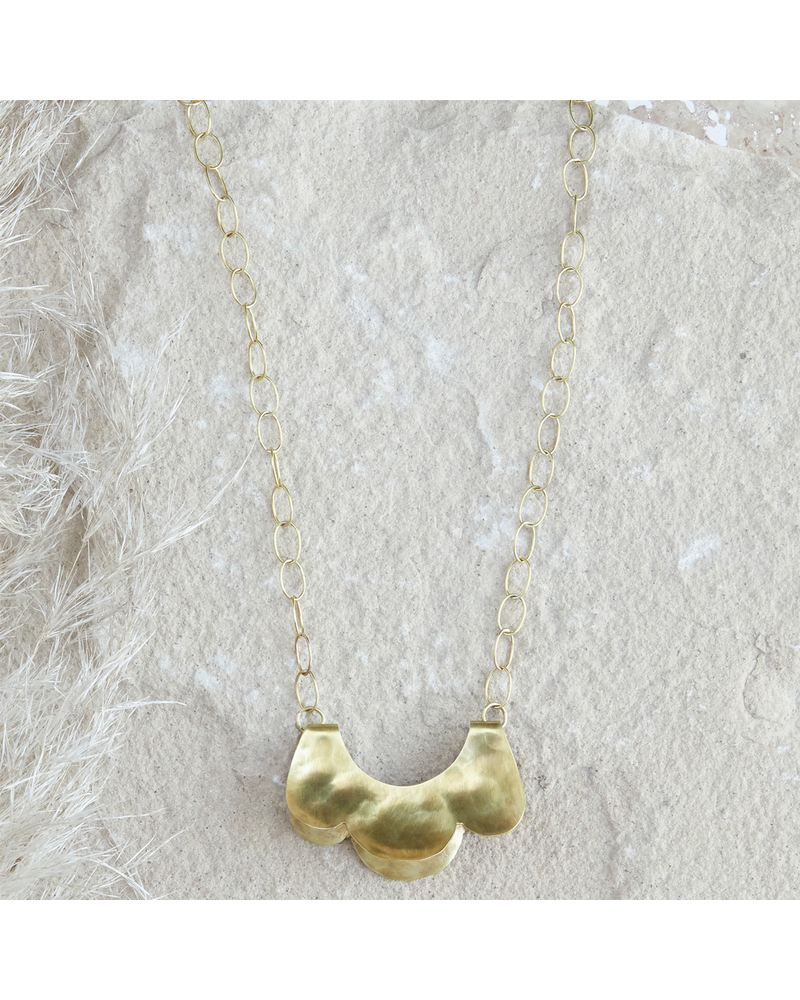 OraTen Yucca Necklace - Scalloped, Sm, Brass