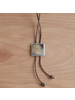 OraTen Aspen Bolo Tie - Square, Silver Mother of Pearl - Dark