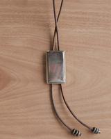 OraTen Aspen Bolo Tie - Rectangle, Silver Mother of Pearl - Dark