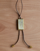 OraTen Aspen Bolo Tie - Rectangle, Brass, Mother of Pearl - Light