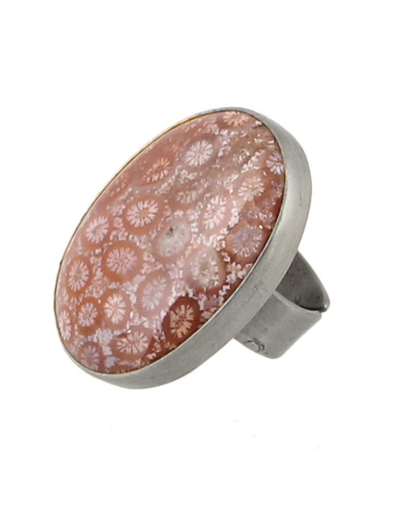 OraTen Bezel Set Ring, Silver, Fossilized Coral