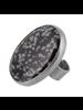 OraTen Bezel Set Ring, Silver, Snowflake Obsidian