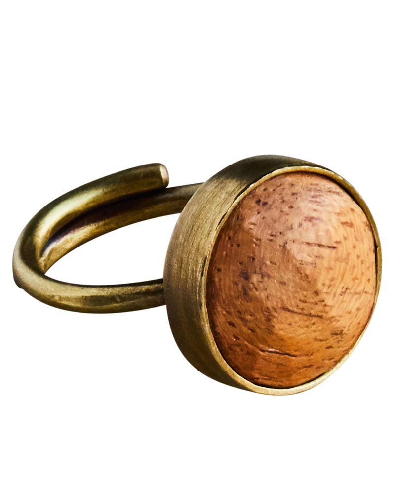 OraTen Penny Ring, Brass, Light Wood