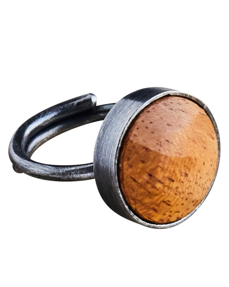 OraTen Penny Ring, Silver, Light Wood