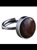 OraTen Penny Ring, Silver, Dark Wood