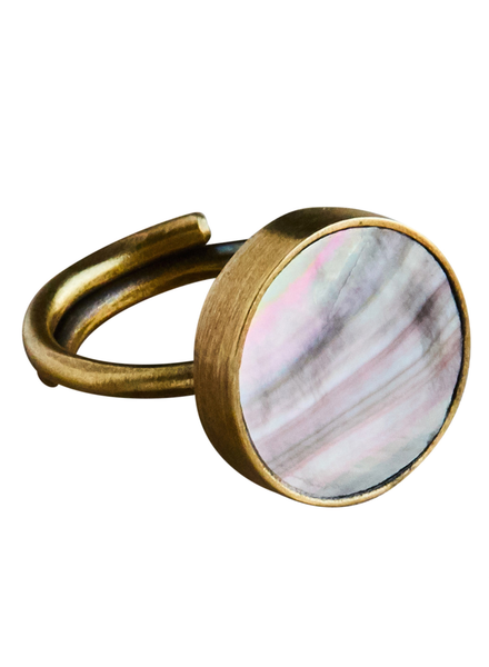 OraTen Penny Ring, Brass, Mother of Pearl - Dark