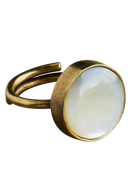 OraTen Penny Ring, Brass, Mother of Pearl - Light