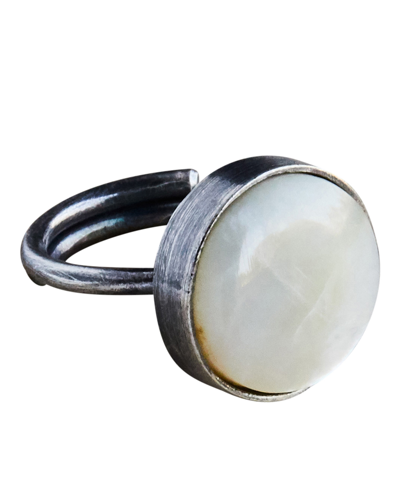 OraTen Penny Ring, Silver, Mother of Pearl - Light