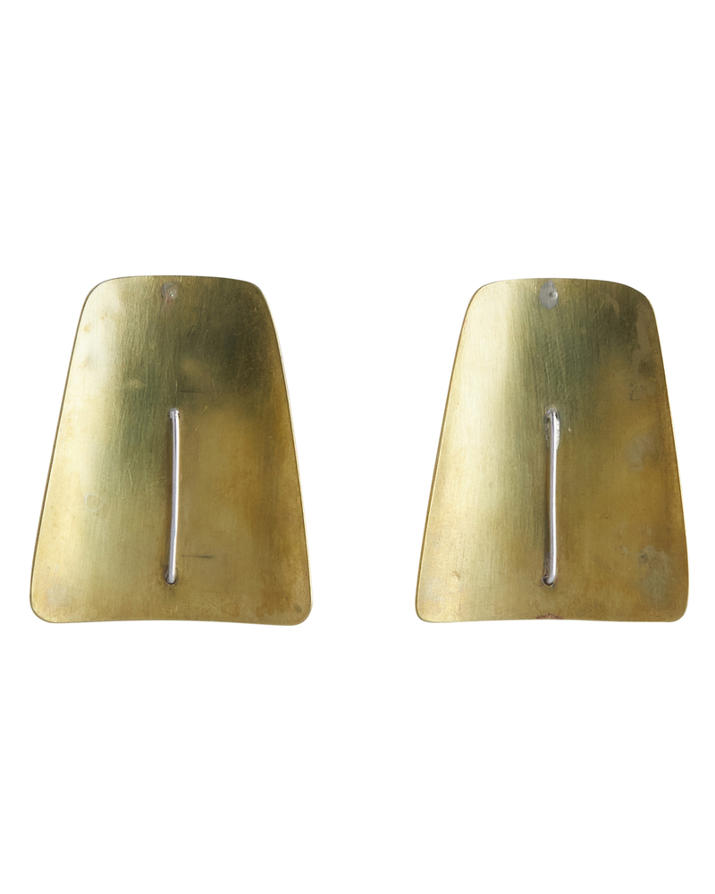 OraTen Ives Post Earring - Trapezoid,  Brass