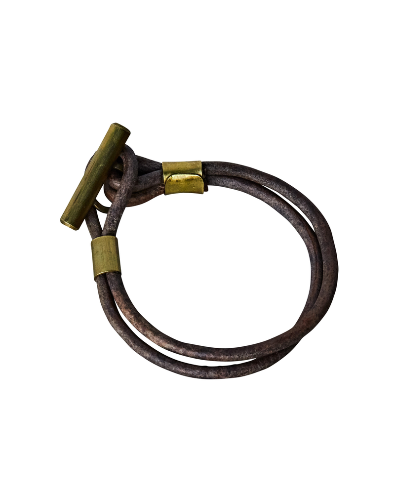 OraTen Dean Leather Toggle Bracelet - 7, Brass