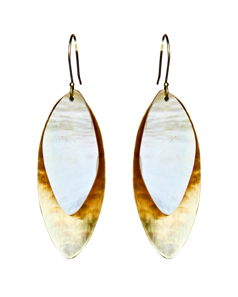 OraTen Dona Earring, Brass, Mother of Pearl - Light