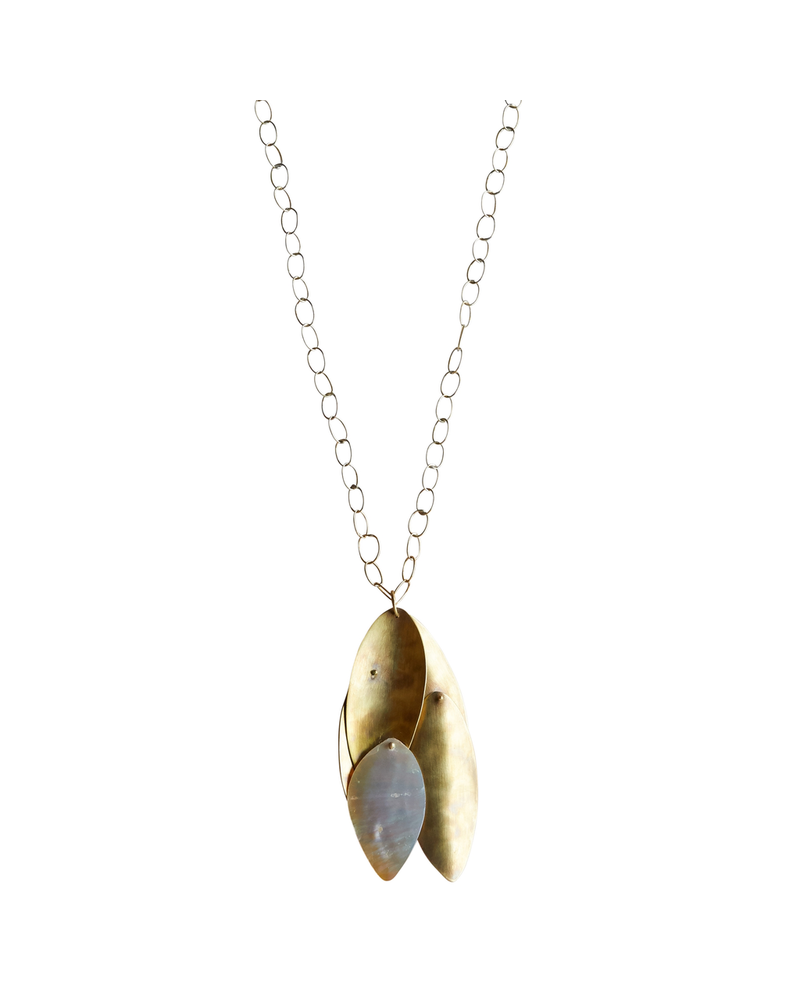 OraTen Dona Necklace, Brass, Mother of Pearl - Light