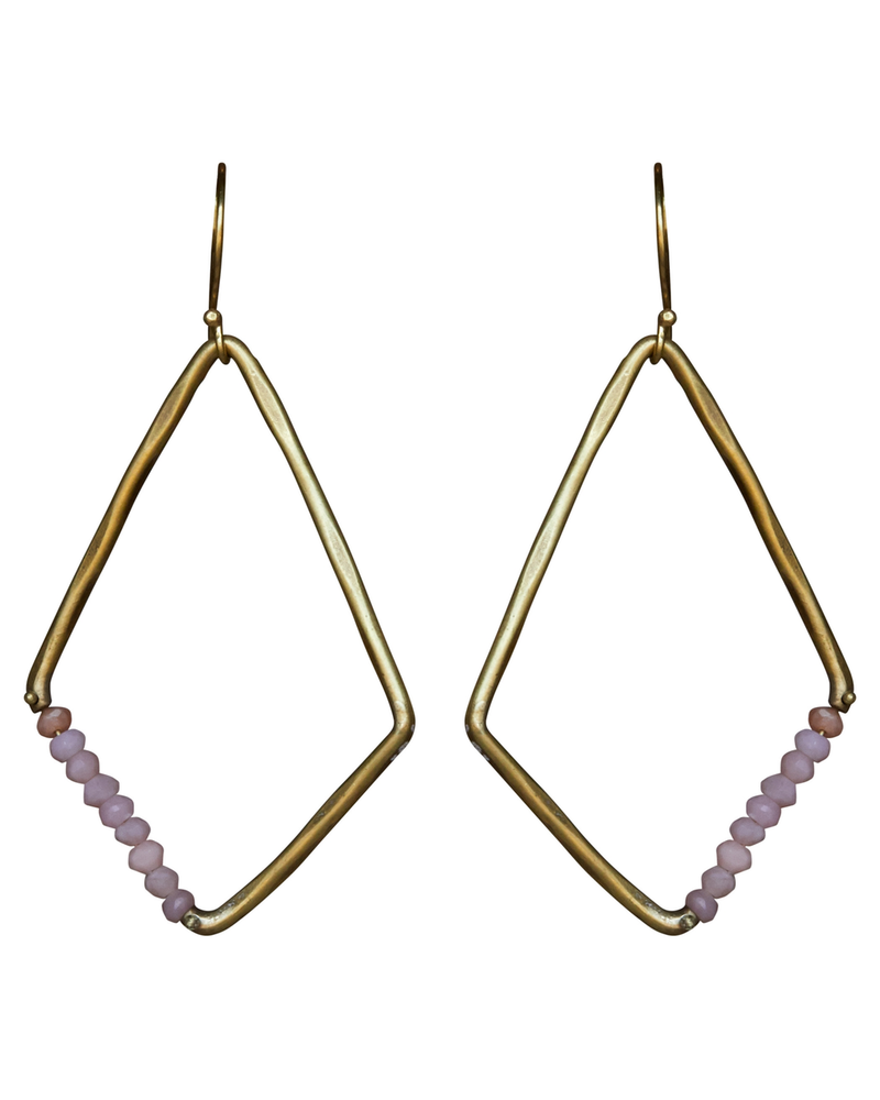OraTen Aurora Earring - Kite with Stones, Pink Opal