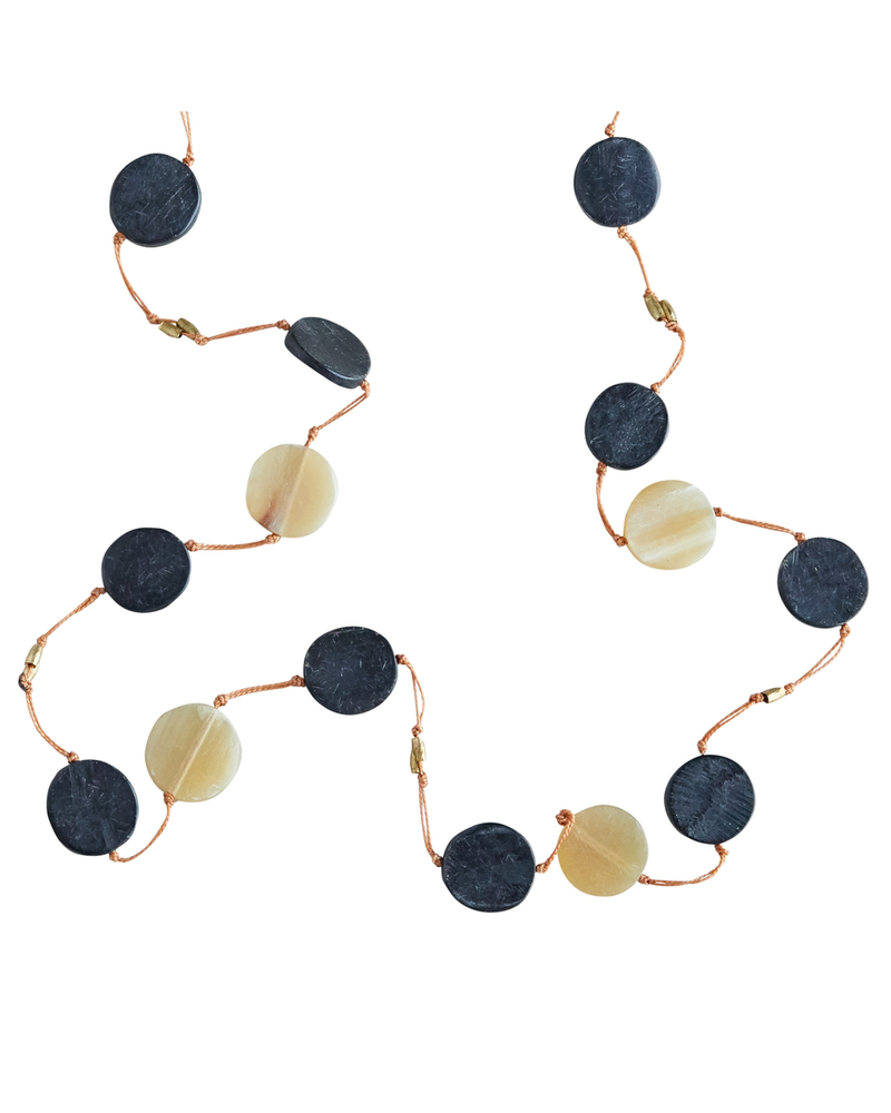 OraTen Necklace - Horn Disk Fishing Line on Orange Line - Horn on Orange Line