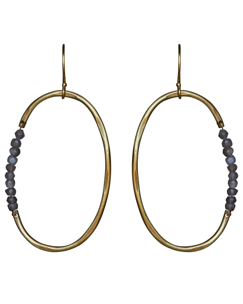 OraTen Aurora Earring - Oval with Stones, Grey Moonstone