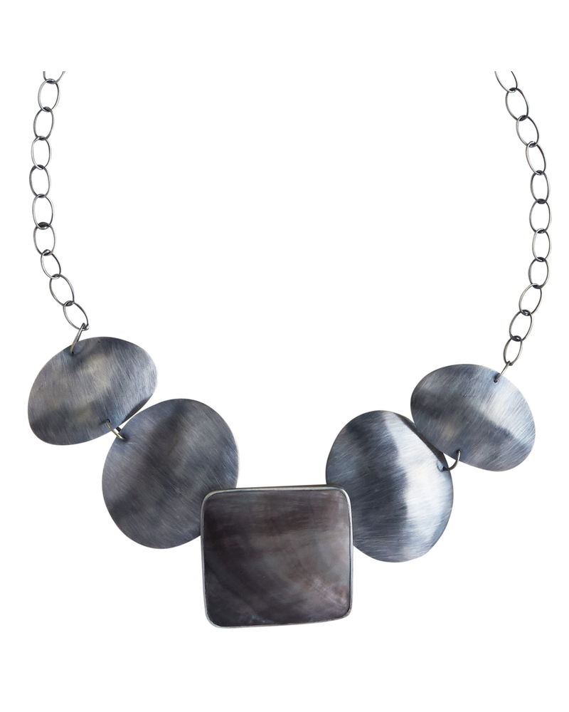 OraTen Taos Necklace - Square, Silver Mother of Pearl - Dark