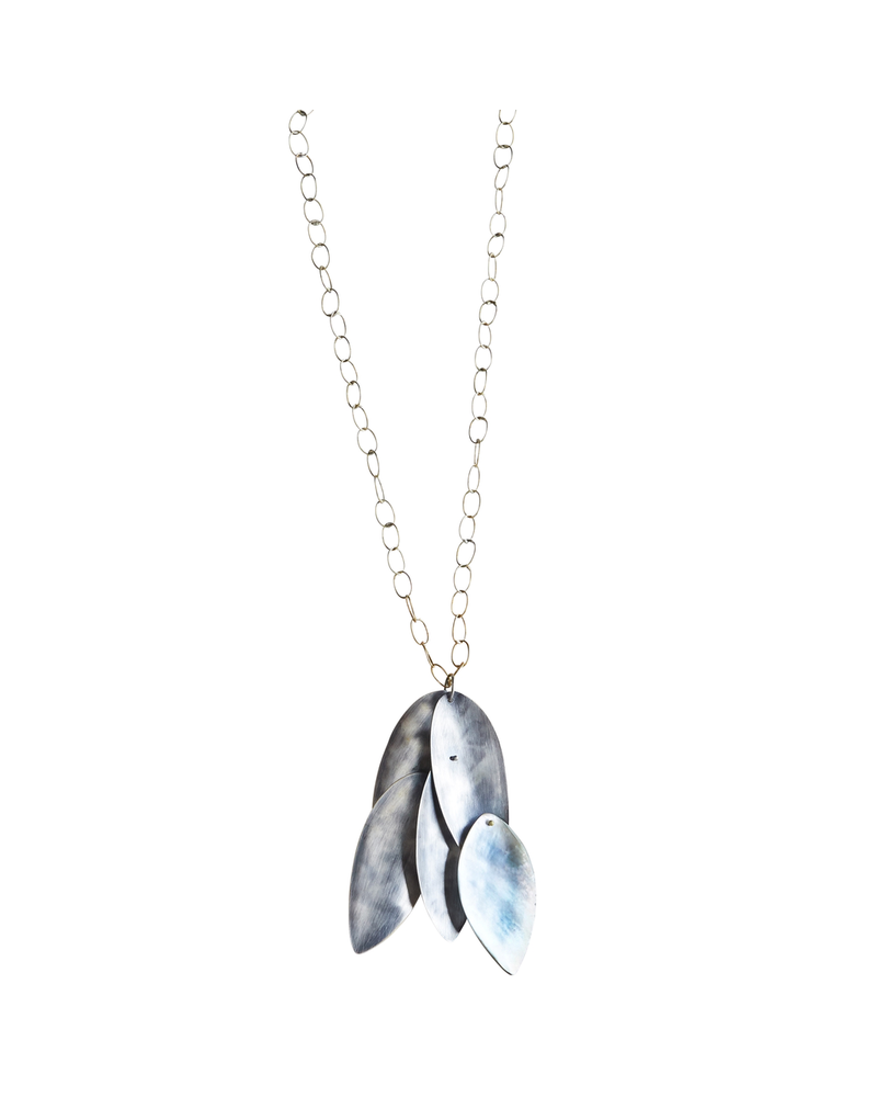 OraTen Dona Necklace, Silver, Mother of Pearl - Dark