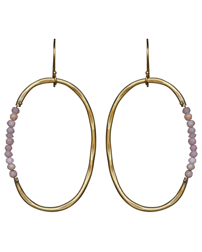 OraTen Aurora Earring - Oval with Stones, Pink Opal