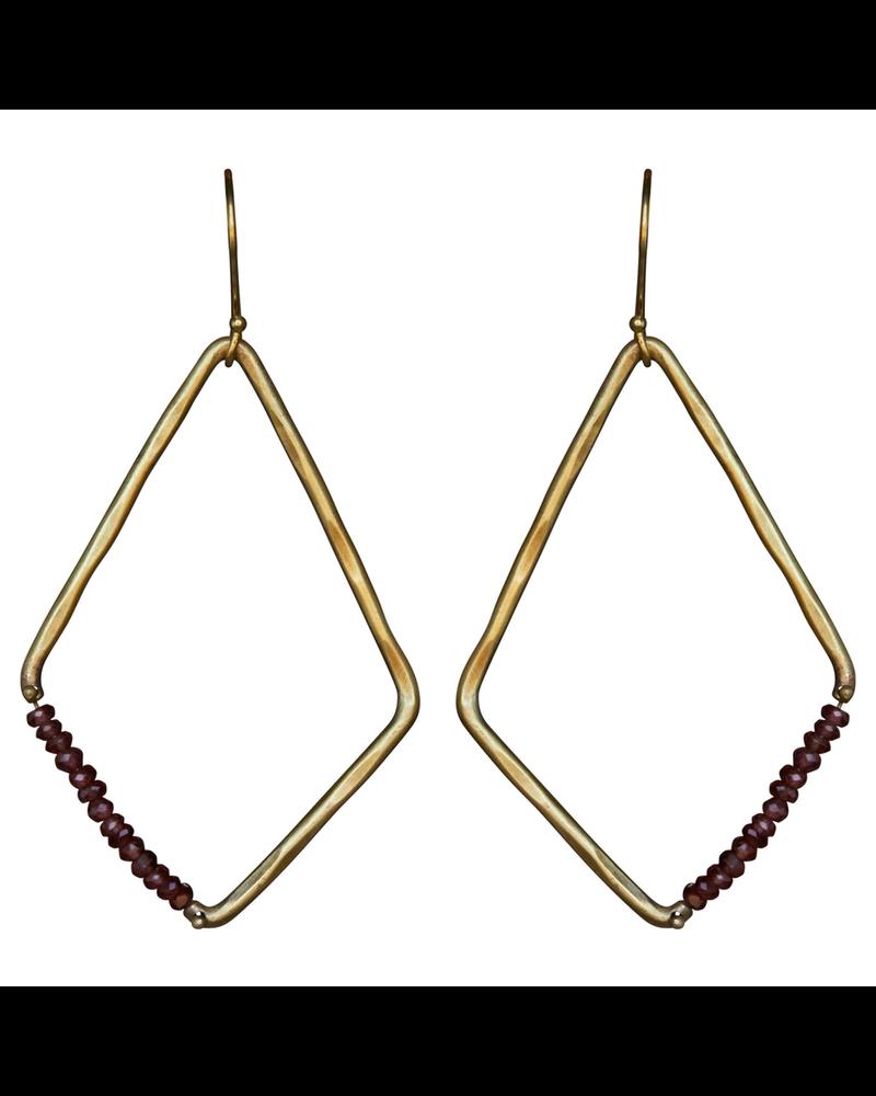 OraTen Aurora Earring - Kite with Stones, Garnet