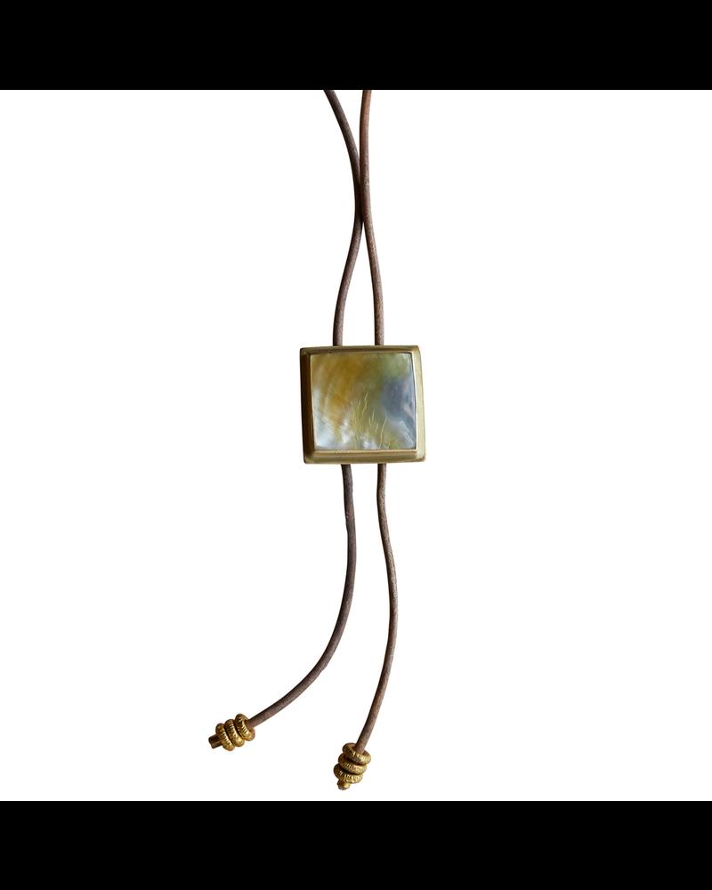 OraTen Aspen Bolo Tie - Square, Brass, Mother of Pearl - Light