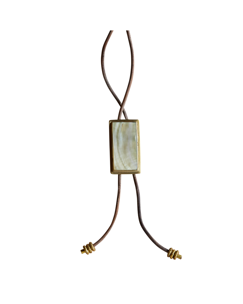 OraTen Aspen Bolo Tie - Rectangle, Brass, Mother of Pearl - Light