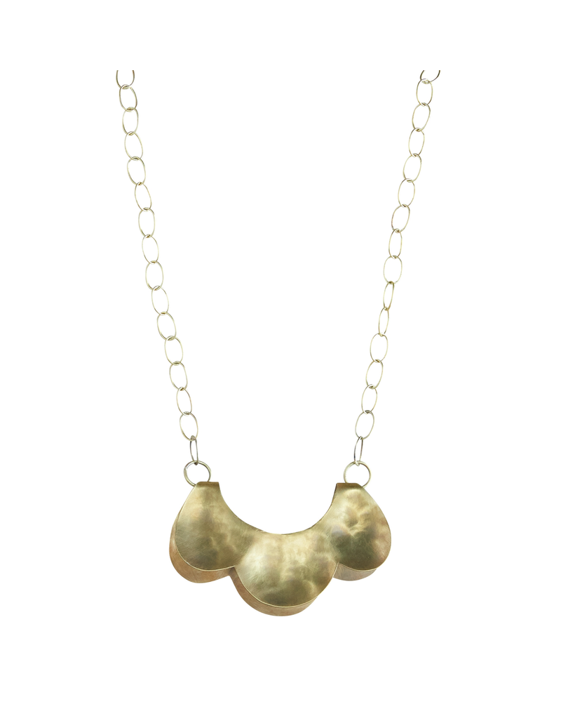 OraTen Yucca Necklace - Scalloped, Lrg, Brass